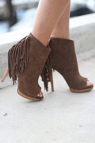 Girls Best Fringe Tan Heels