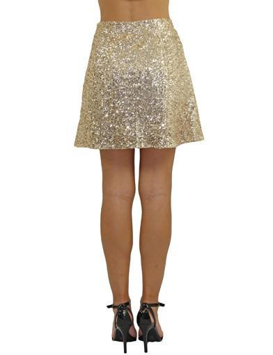 Gold flared skirt - back view
