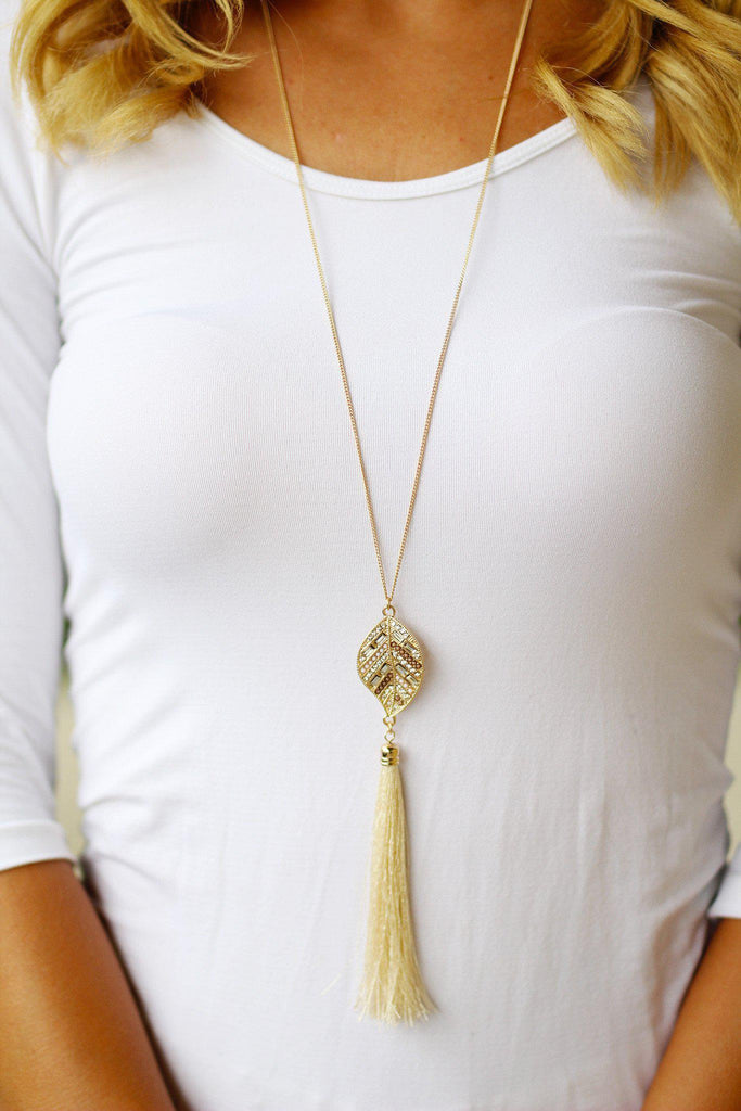 Gold Ivory Leaf Necklace with Tassel
