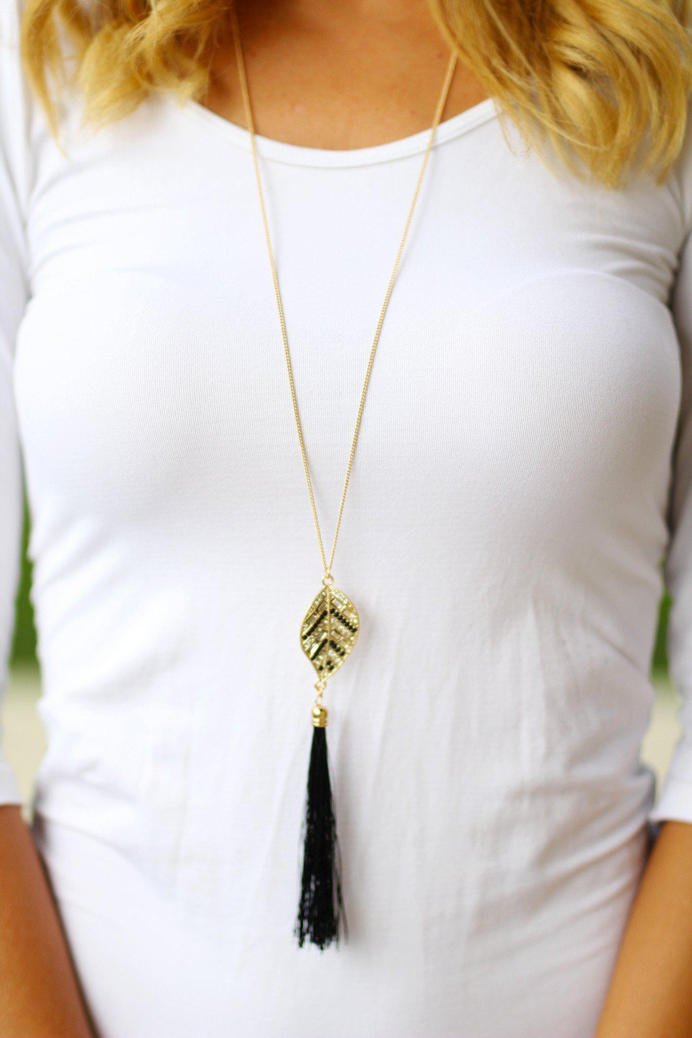 Gold Black Leaf Necklace with Tassel