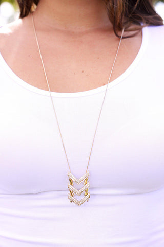 Gold Crystal Arrow Necklace