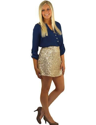 Gold short skirt - semi front view