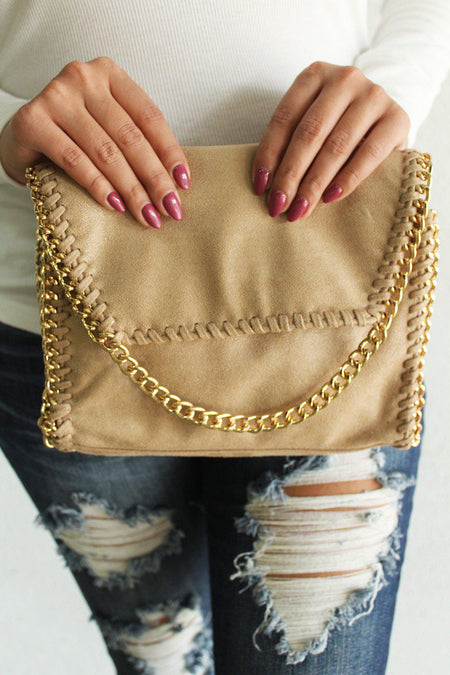 Beige Chained Clutch