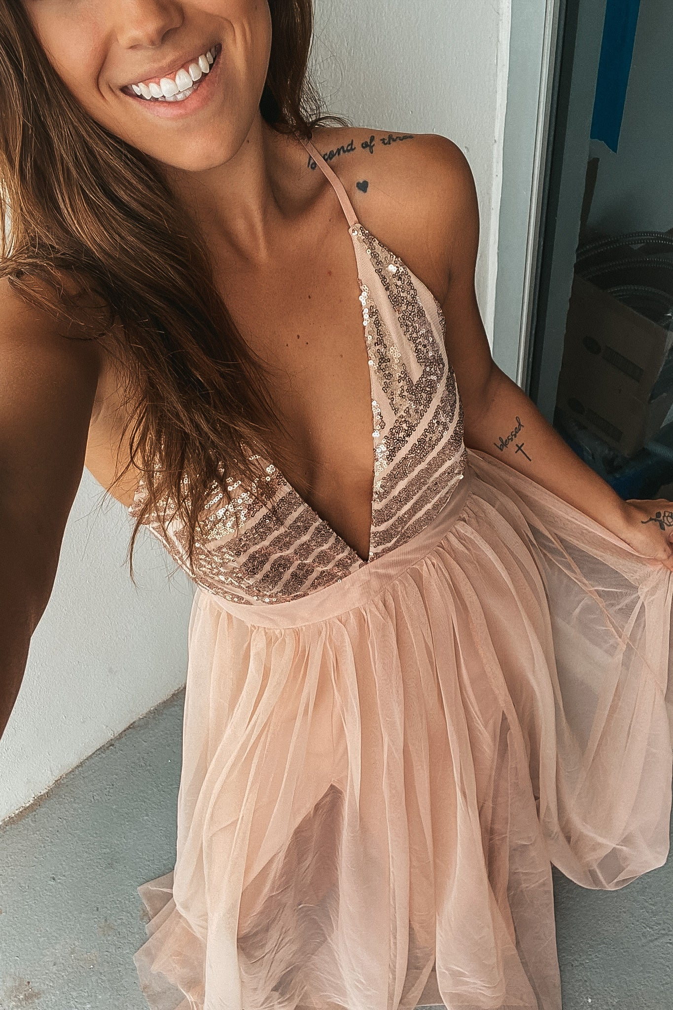 Rose Gold Tulle Maxi Dress with Silver Sequin Top