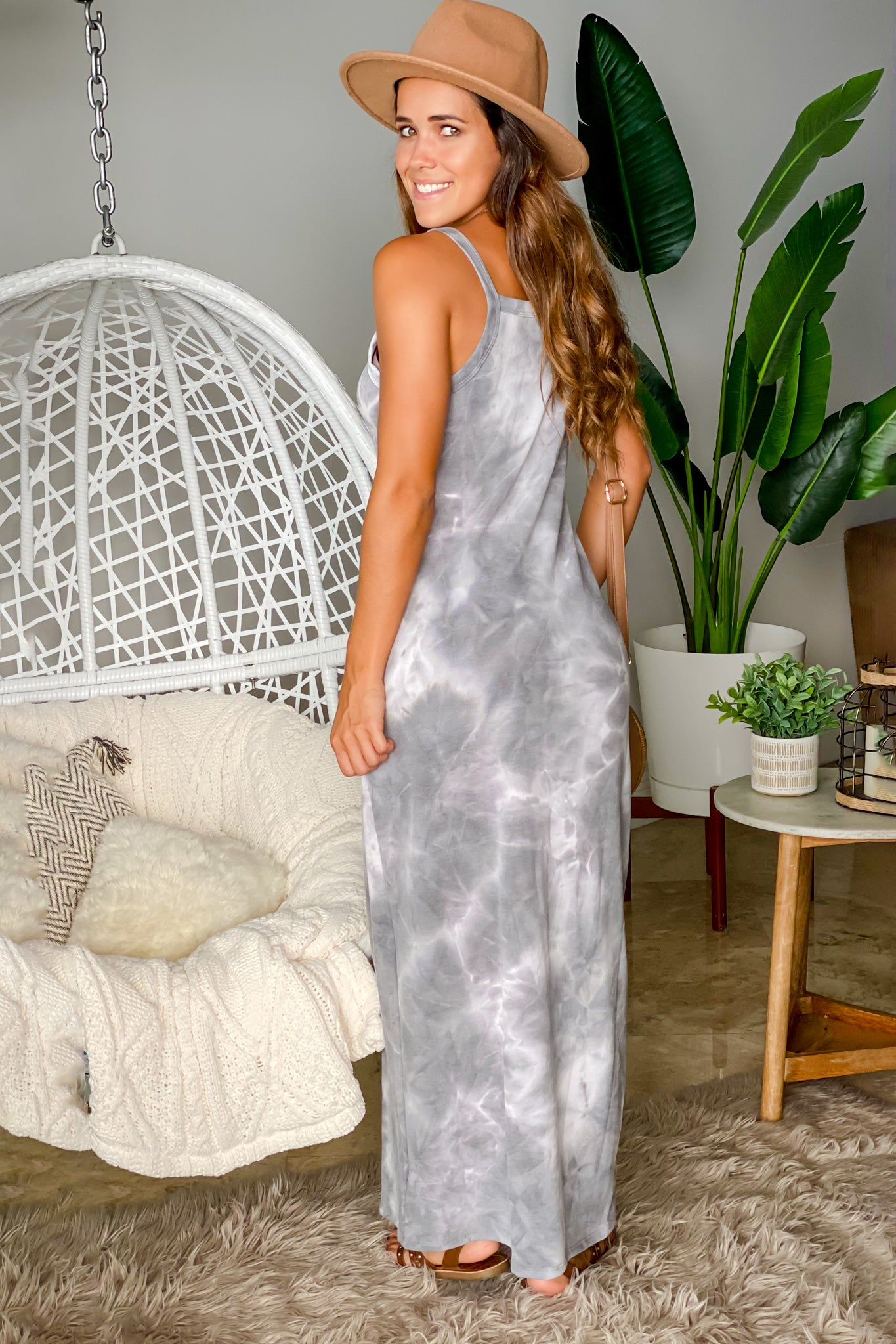gray and white maxi dress