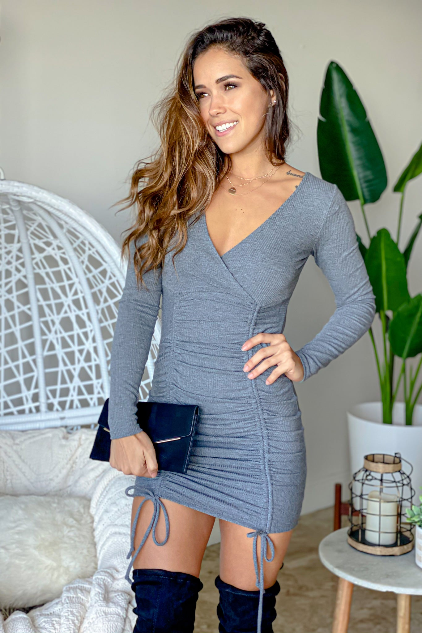 gray cute short dress