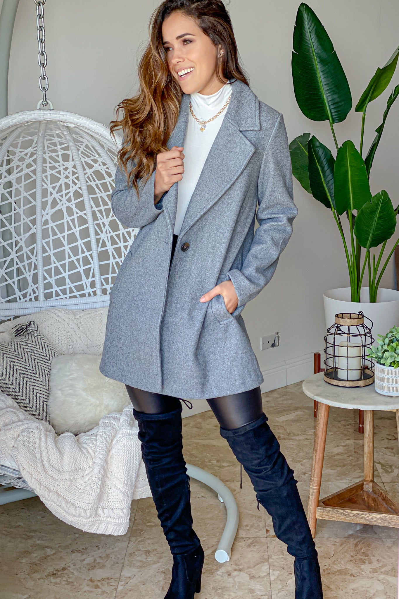 gray fancy coat