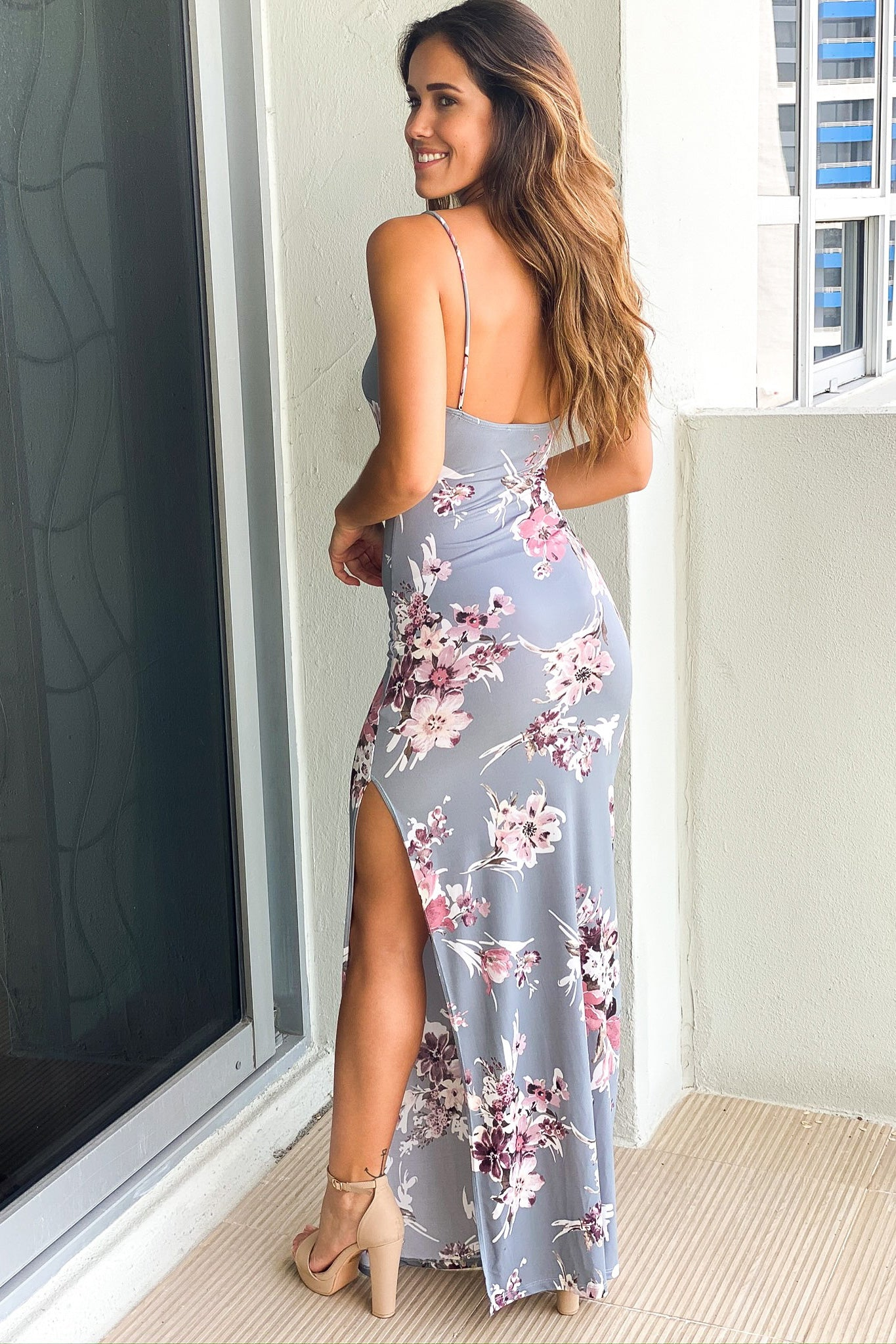gray floral casual maxi dress