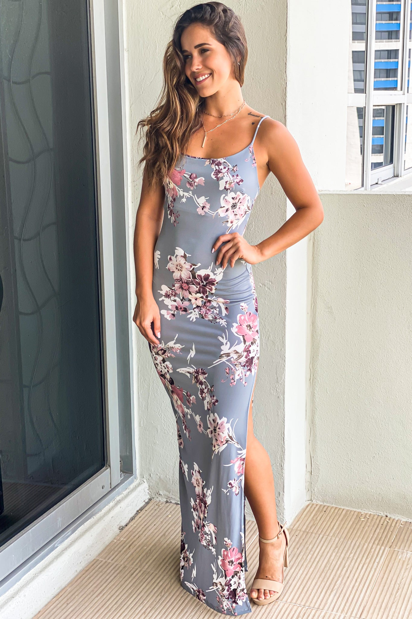 gray floral summer dress