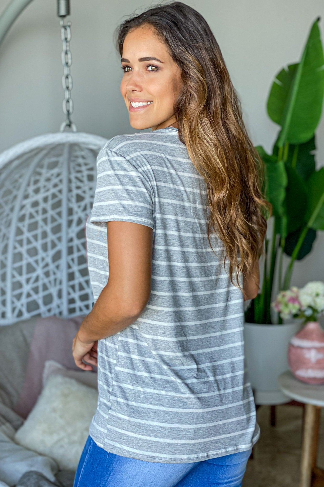 gray striped casual top