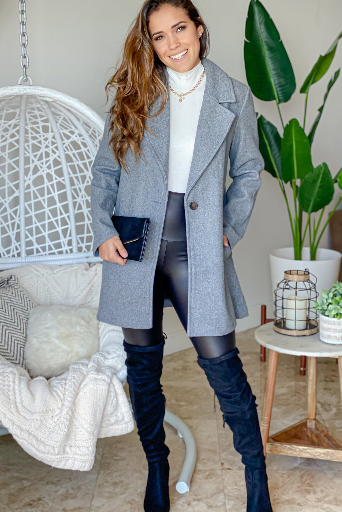 gray stylish coat