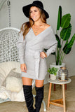 gray tie waist short dress