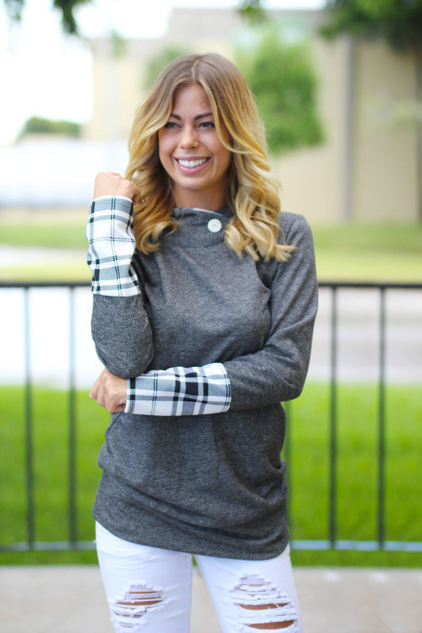 Charcoal Plaid Hooded Tunic