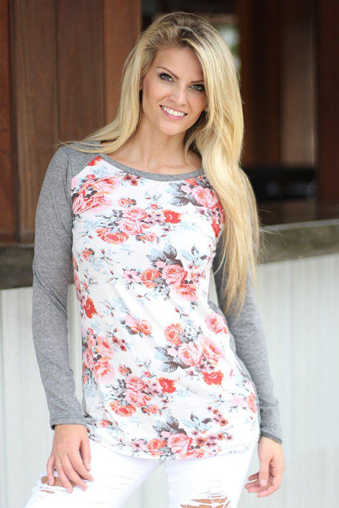 Gray And Ivory Floral Top