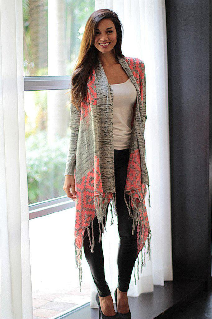 Gray And Neon Pink Cardigan