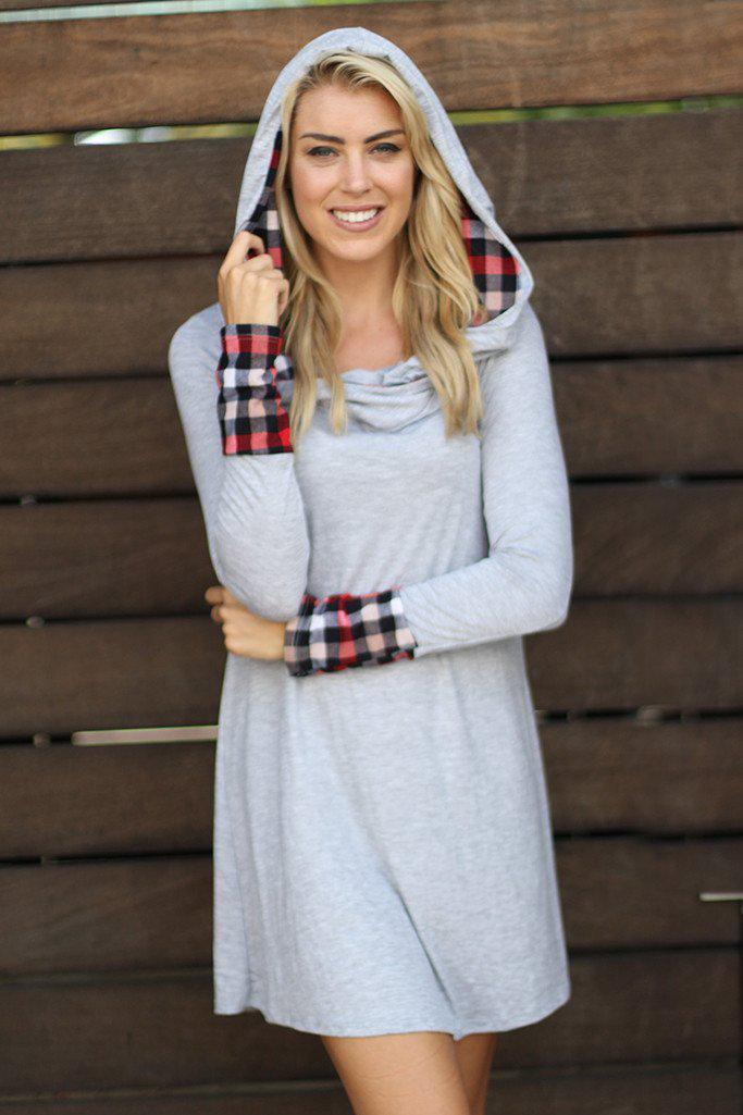 Gray And Plaid Print Hooded Tunic