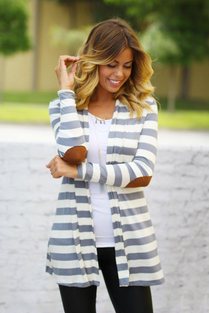 Heather Gray And White Striped Cardigan