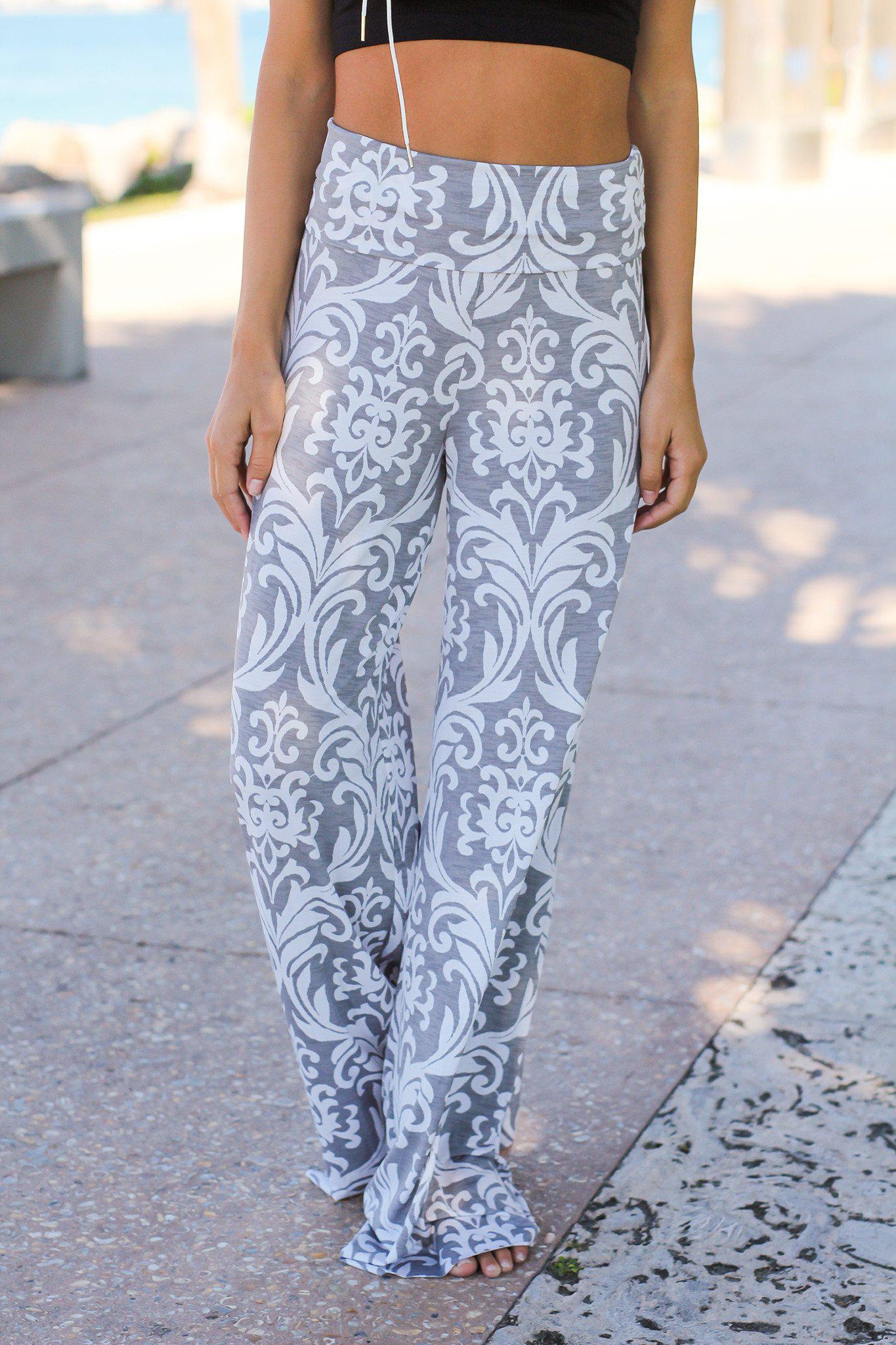 gray and white pants