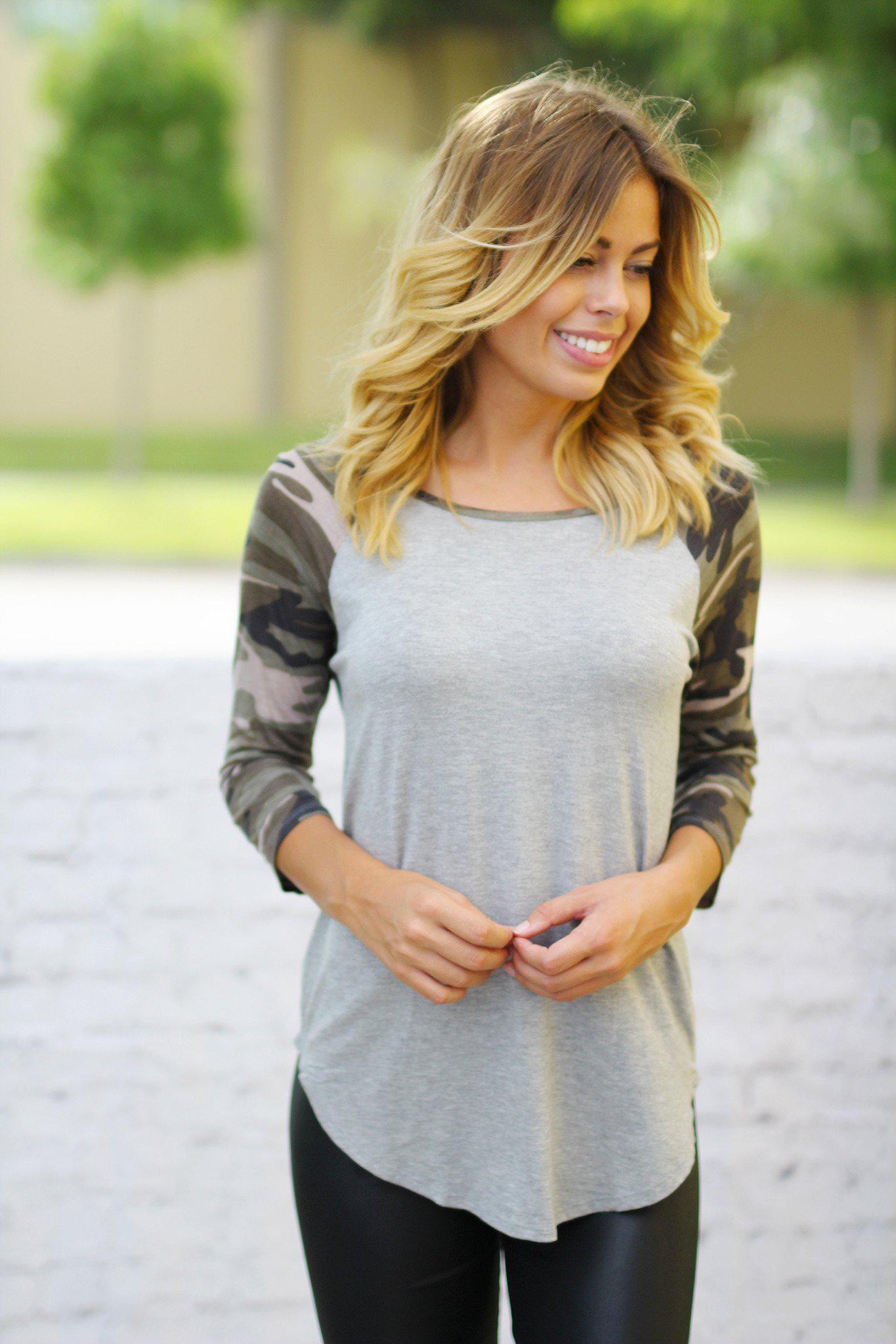 Gray Top with Camo Sleeves