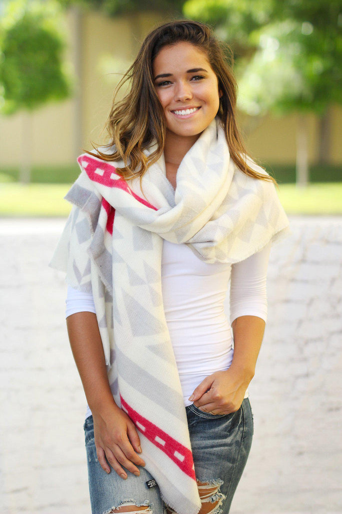 Ivory and Gray Blanket Scarf