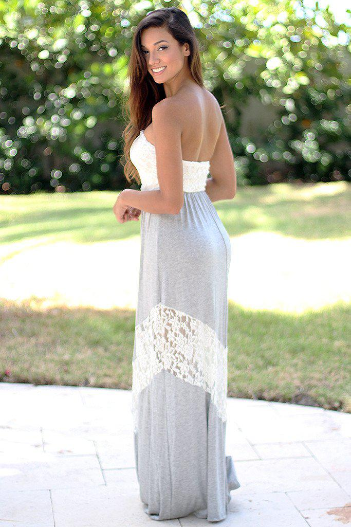 Gray Chevron Maxi Dress with Lace
