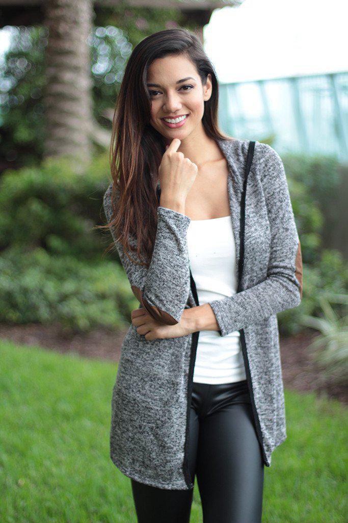 Gray Hooded Cardigan With Elbow Patches