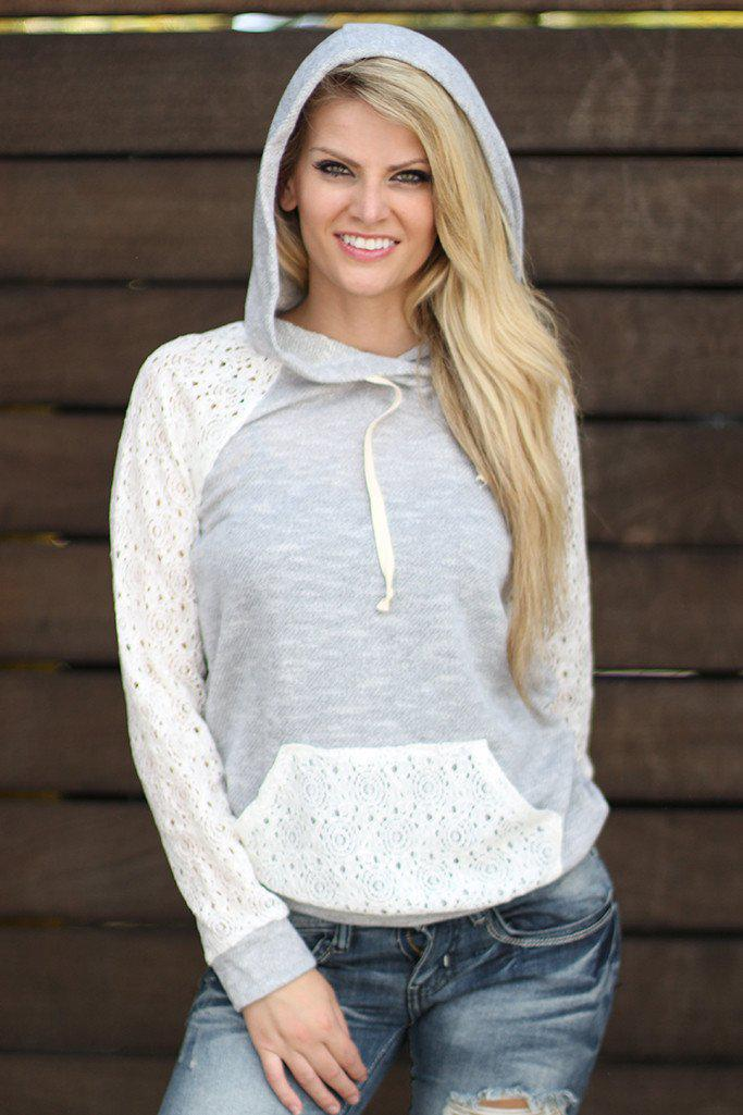 Gray Hoodie With Lace Sleeves And Pocket