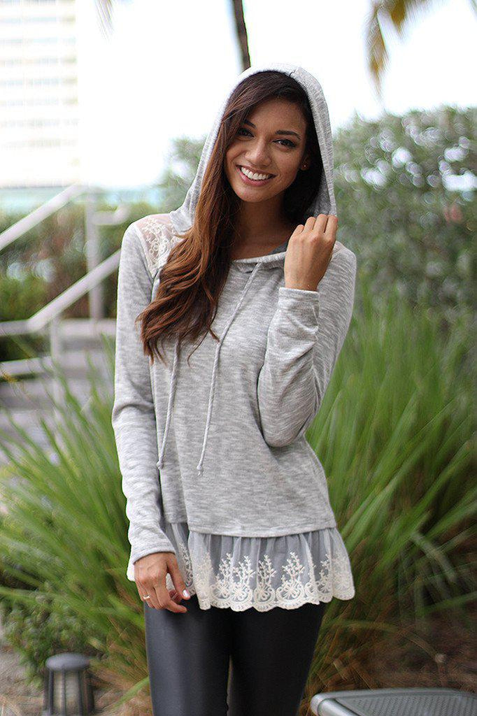 Gray Hoodie With Lace Trim