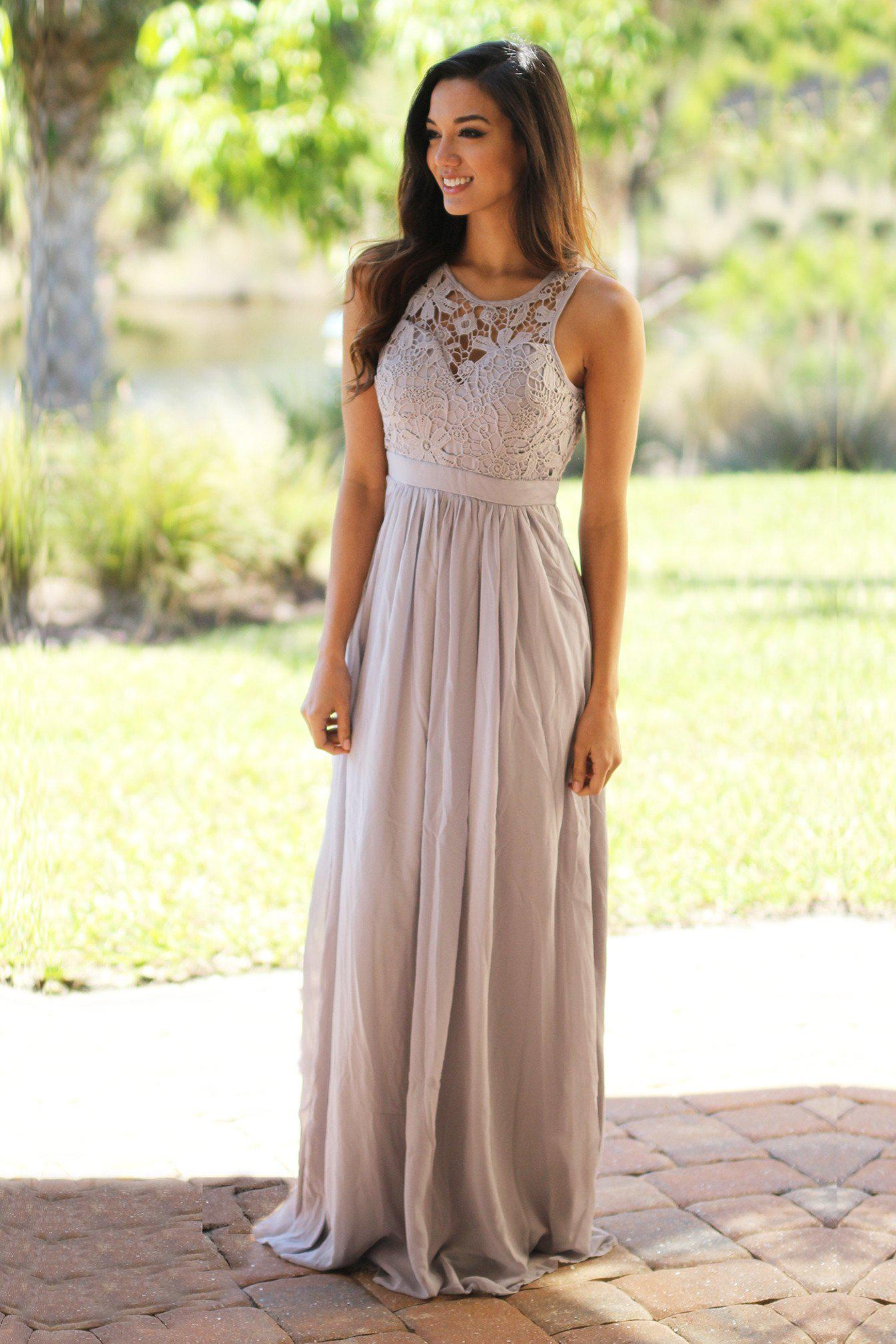 Gray lace maxi dress gray maxi dress bridesmaid for Lace maxi wedding dress