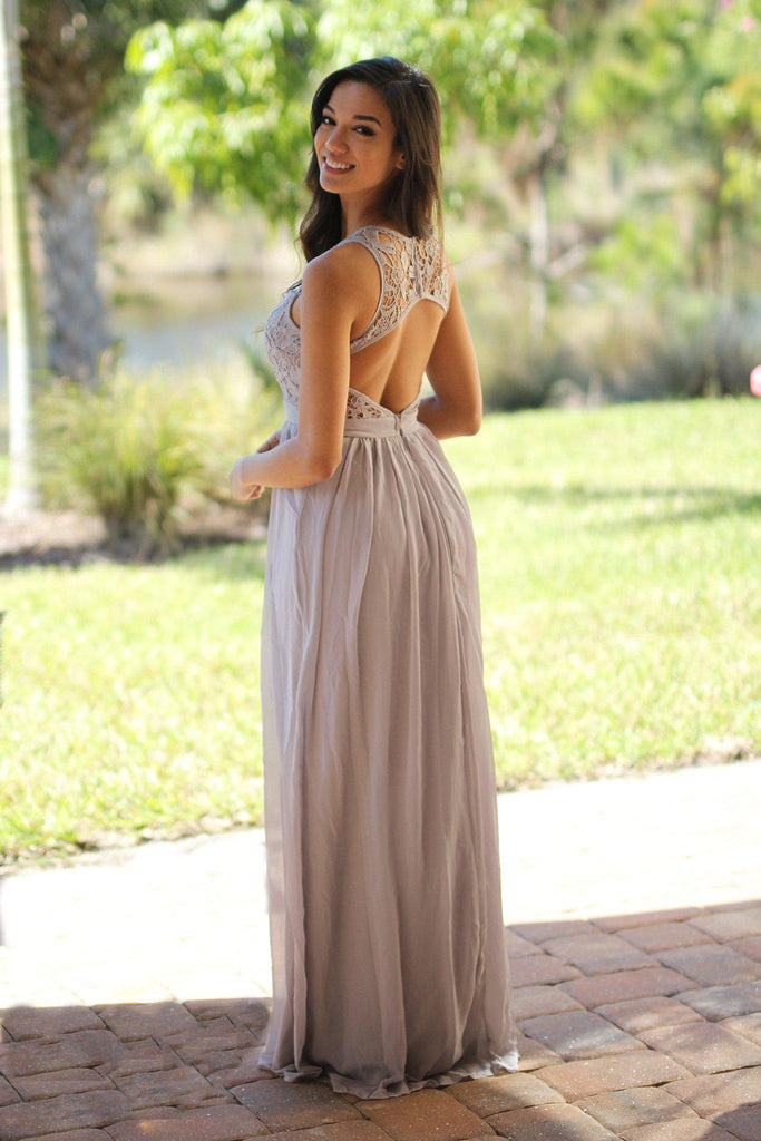 gray special occasion dress