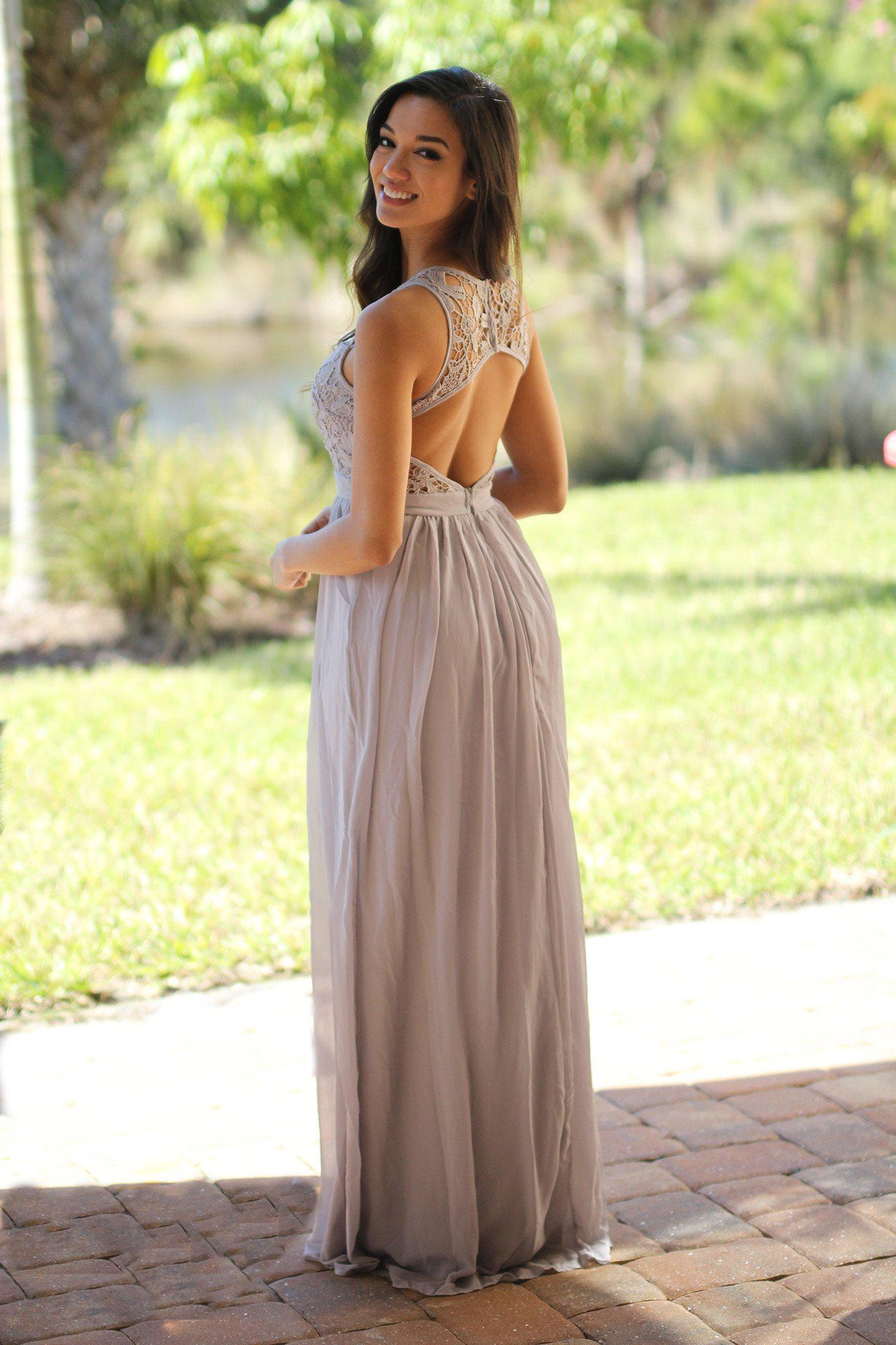 Grey and yellow maxi dresses