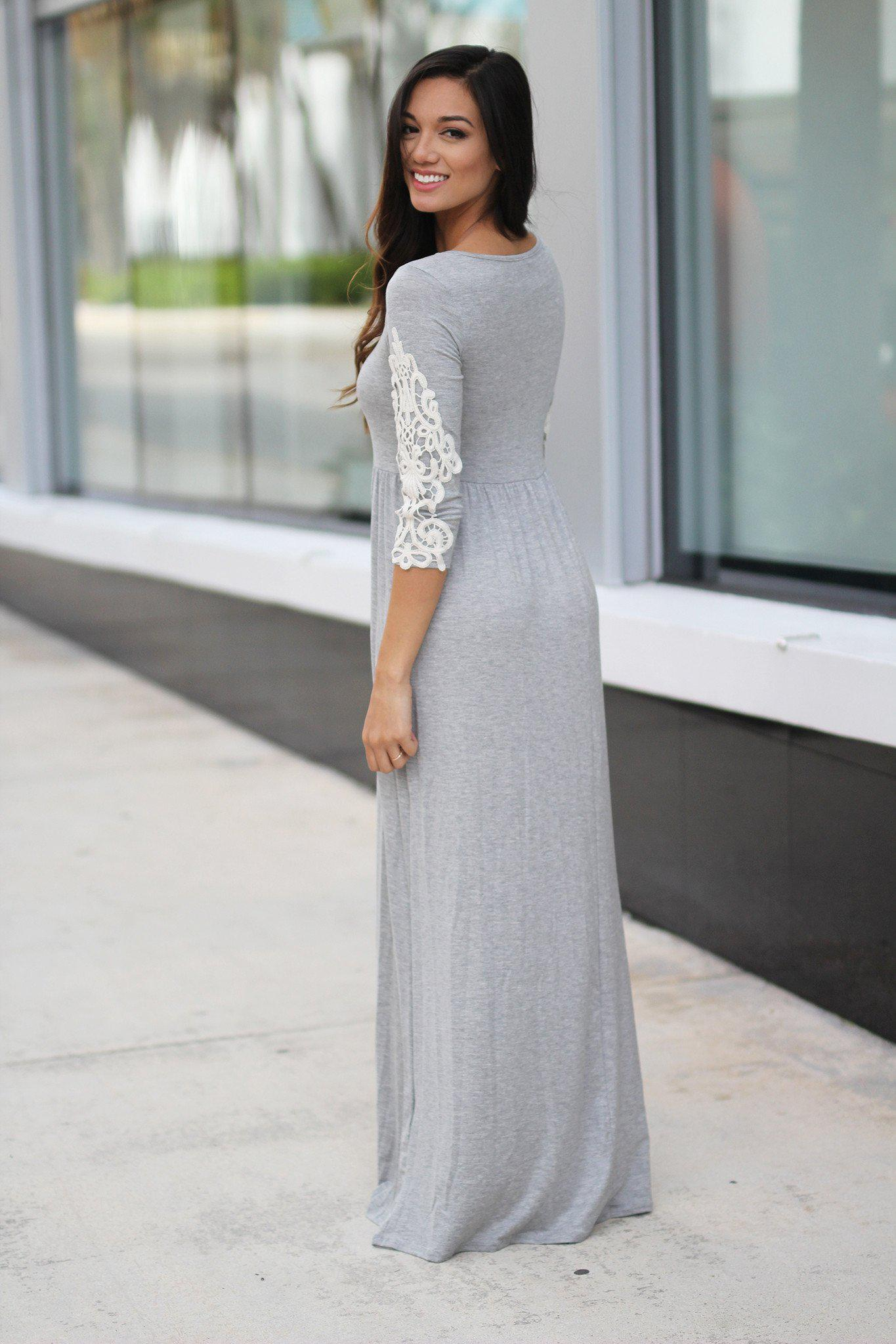 Heather Gray Maxi Dress with Crochet Sleeves