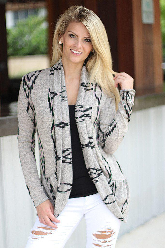 Gray Printed Open Cardigan