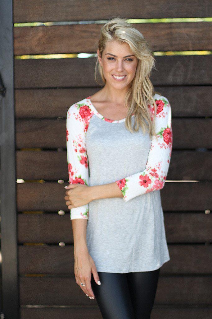 Gray Top With 3/4th Floral Sleeves