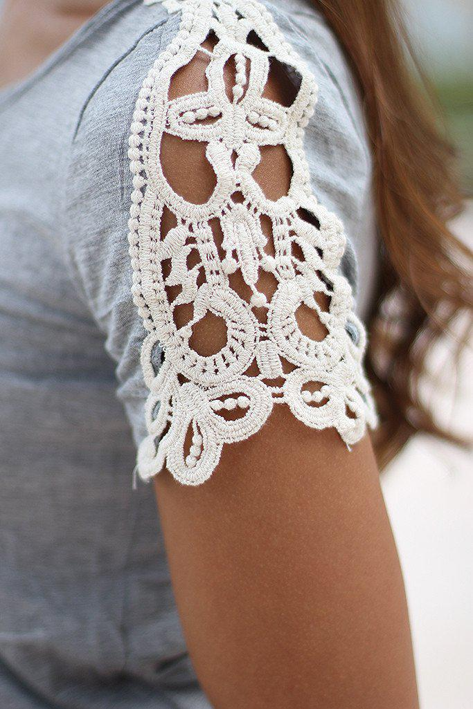Gray Top With Crochet Sleeves