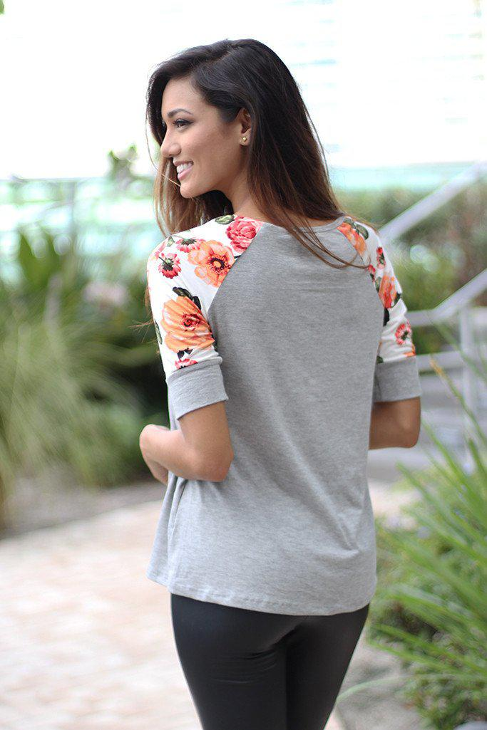 Gray Top With Floral Short Sleeves