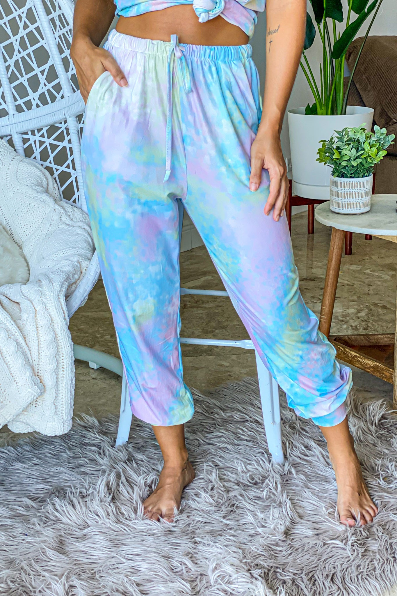 green and blue tie dye lounging pants