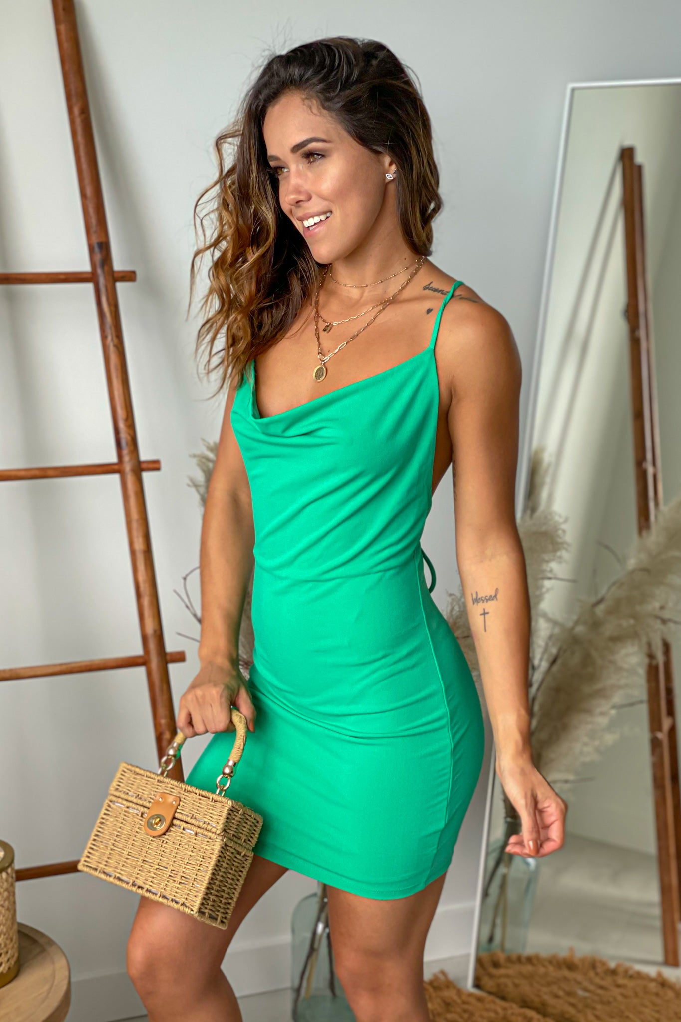 green casual short dress