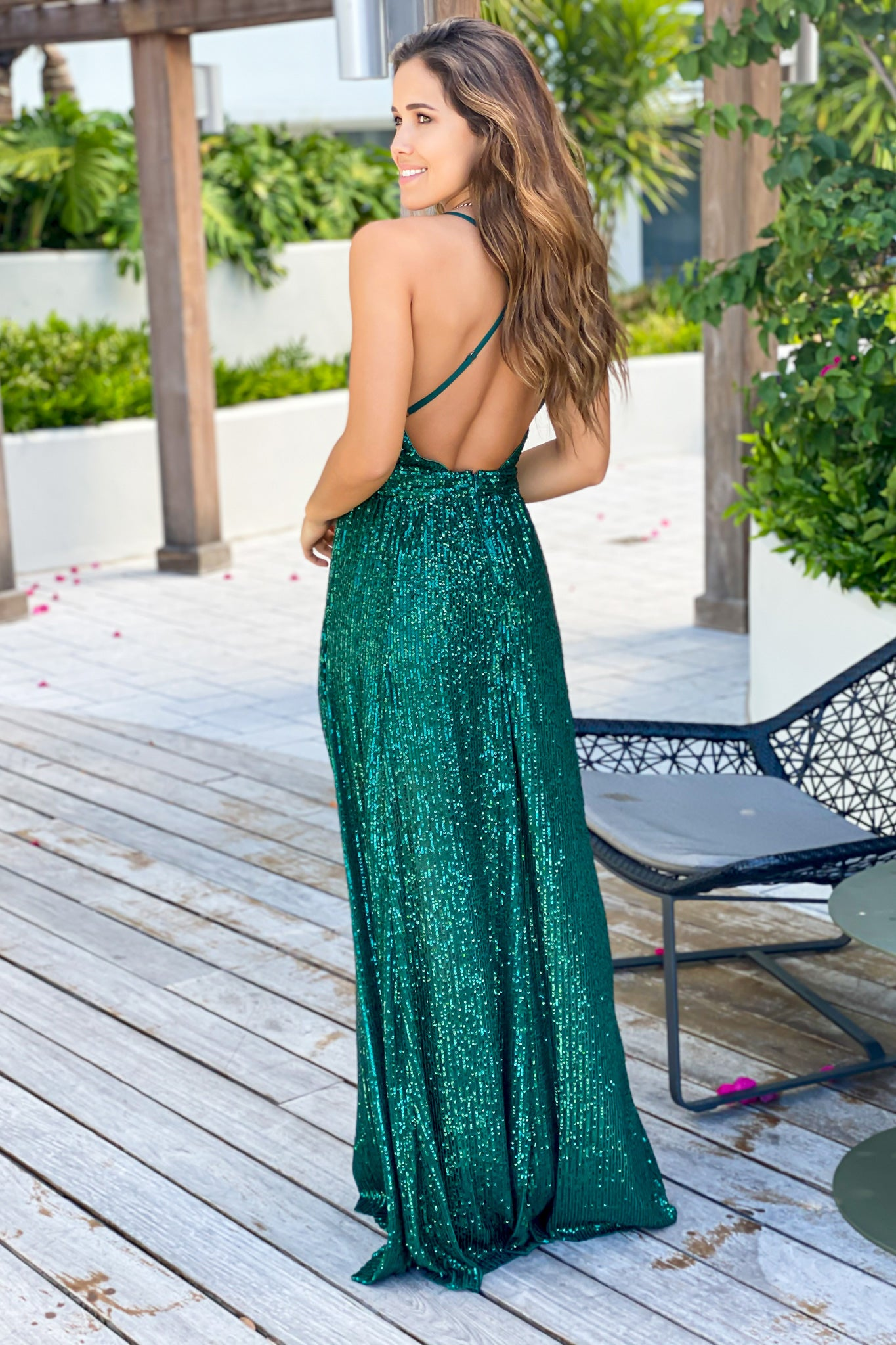 green criss cross back maxi dress