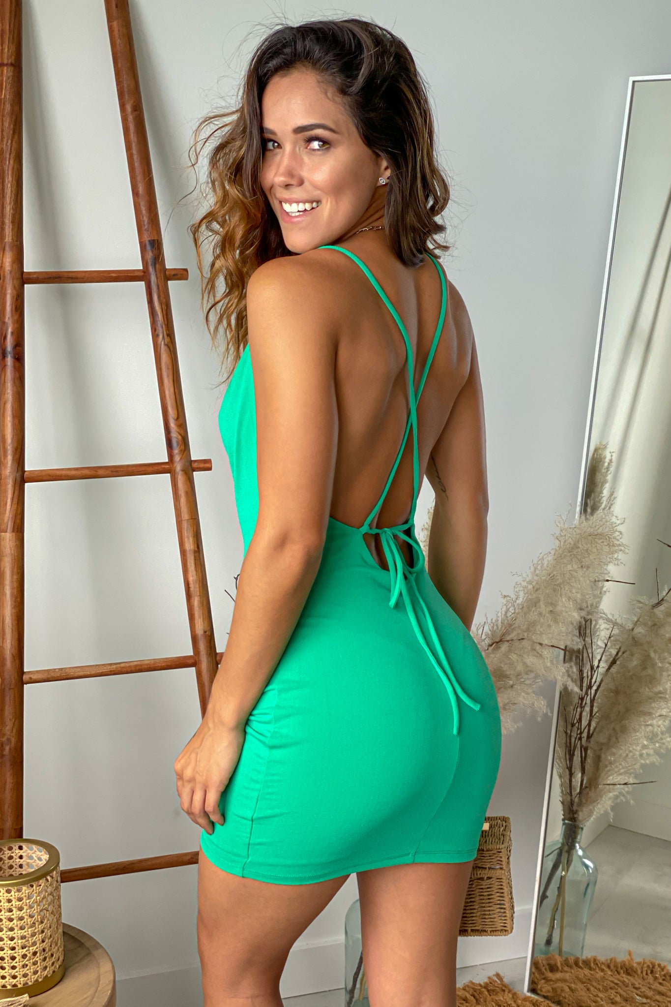 green criss cross back short dress