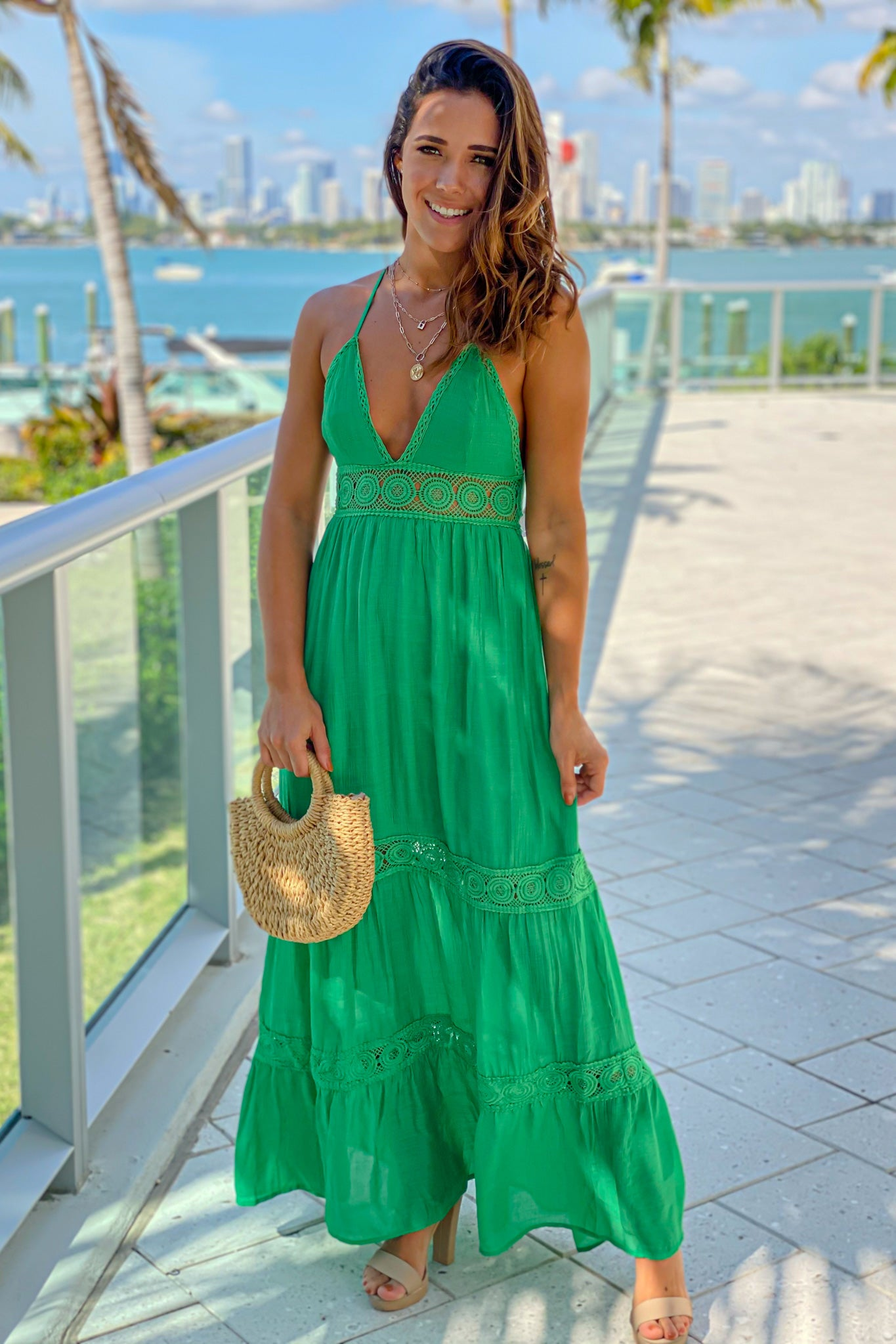 green crochet waist maxi dress