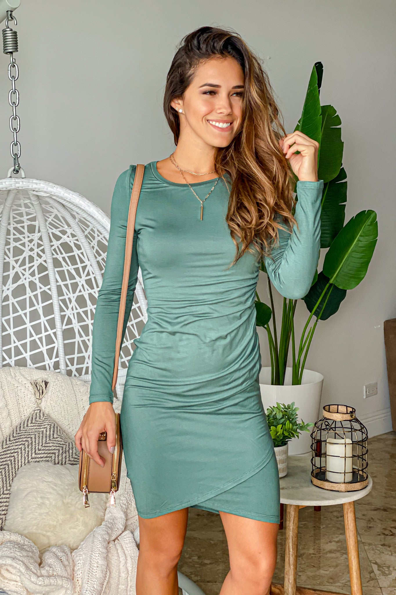 green everyday short dress