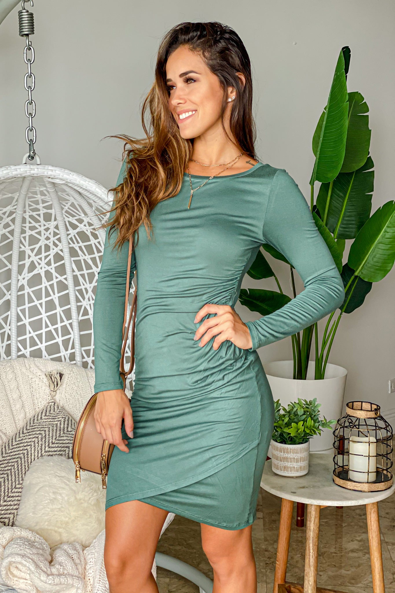 green long sleeve ruched short dress