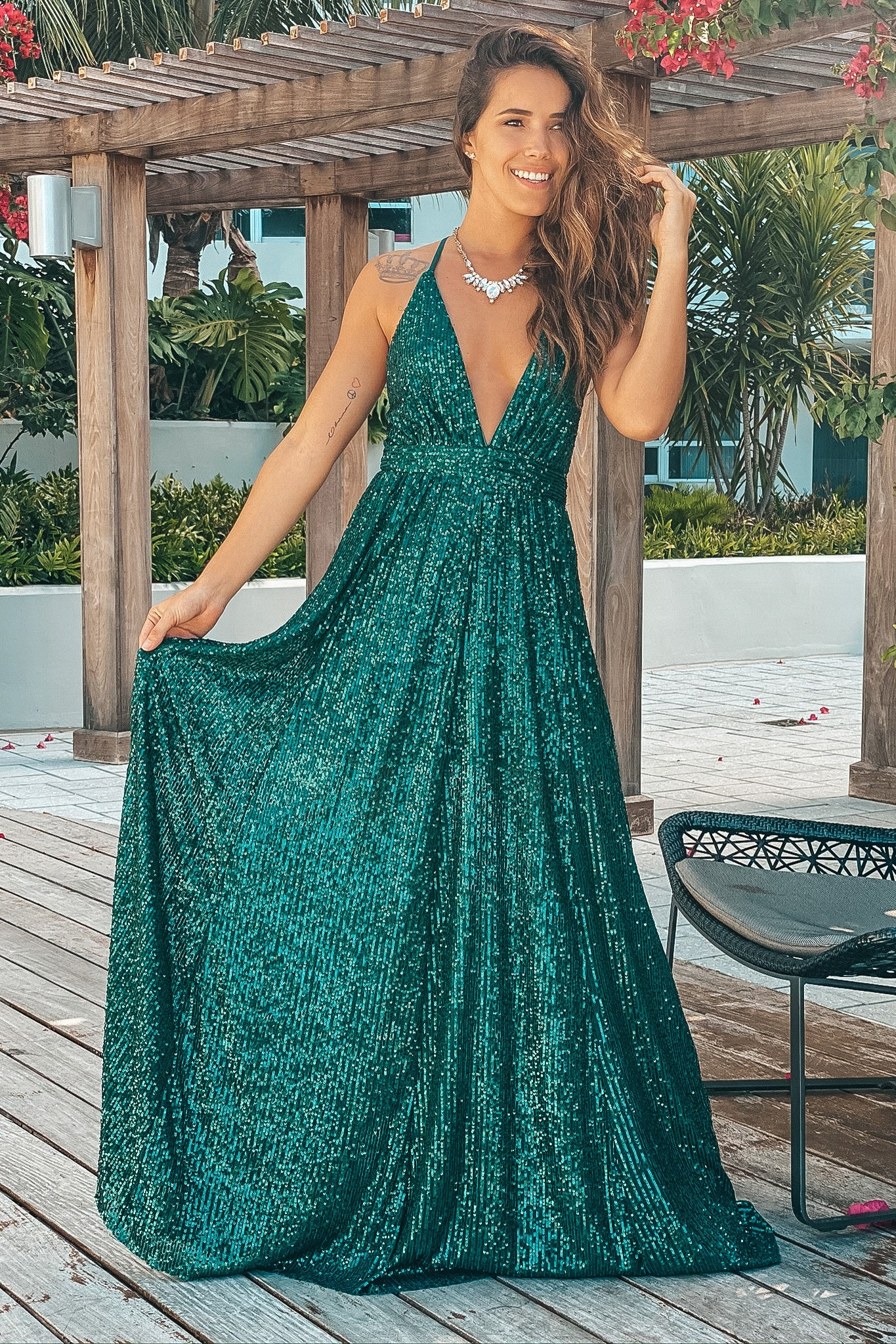 green maxi dress with sequins
