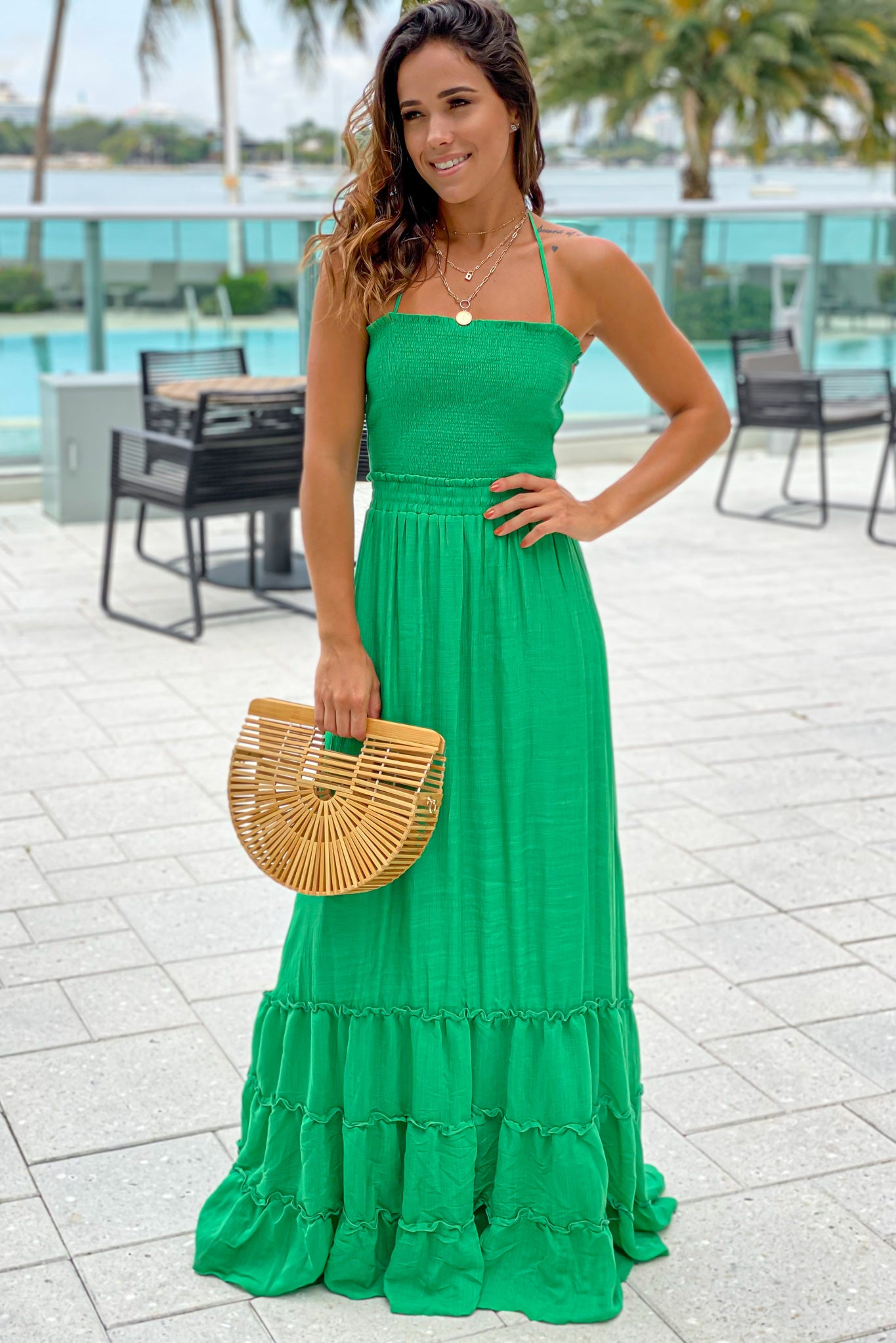 green smocked top maxi dress