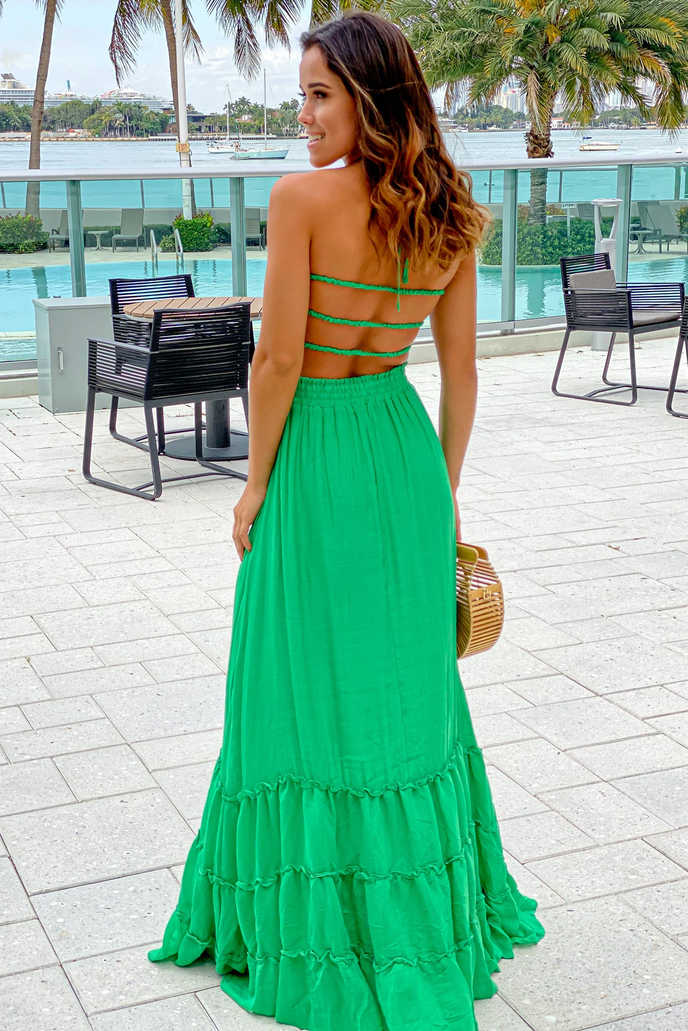 green strappy back maxi dress