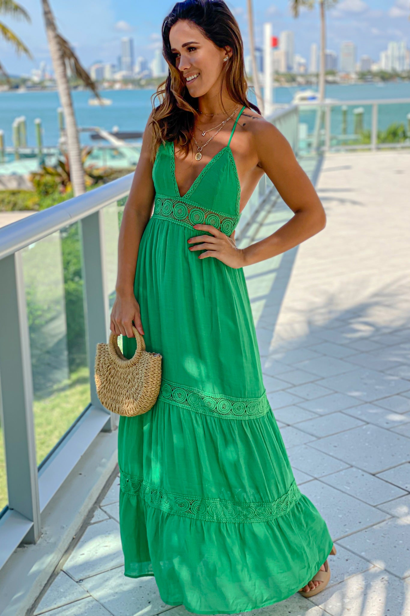 green summer maxi dress