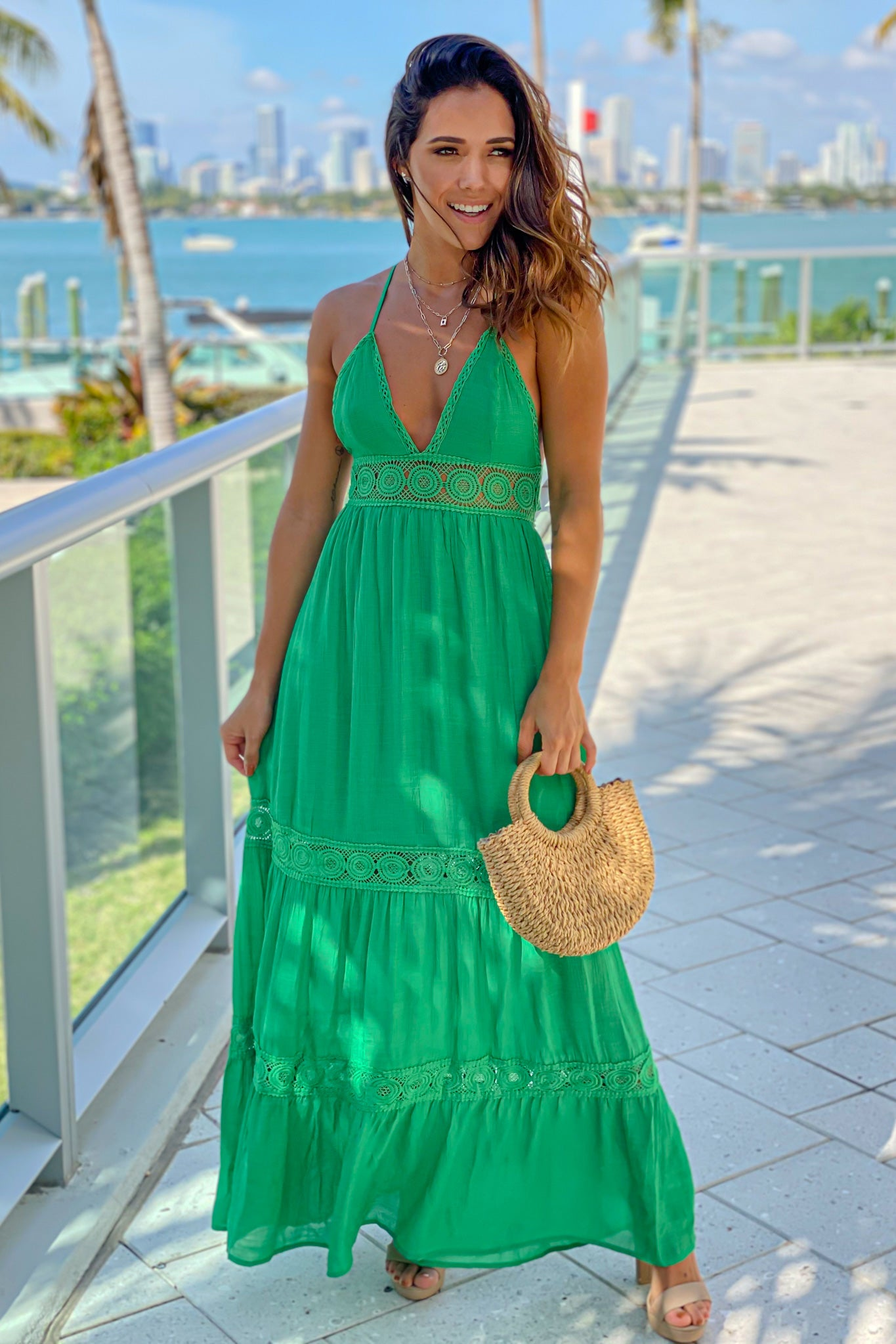 green vacation maxi dress
