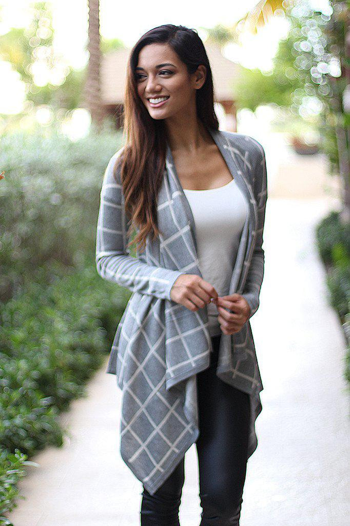 heather gray plaid cardigan