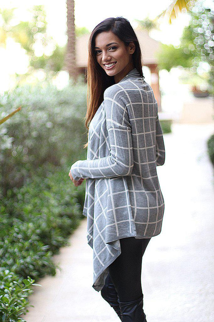 plaid long cardigan
